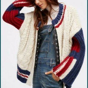 Free People East Gate Cable Knit Bomber Oversized